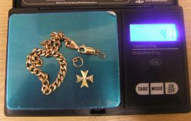 Small quantity of scrap 9ct gold to include bracelet (a/f) & Maltese cross pendant (4.1 grams)