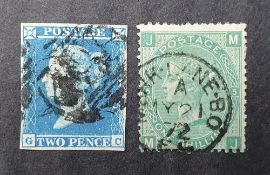 QV 1841 2d blue with 4 good margins together with a 1871 1s green (2) Both used