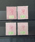 QV Tasmania 1892/9 red 1s, all unused with different colour variations (4)