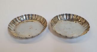 Pair of English silver pin dishes, Each dish measures 11.5cm in diameter. Total combined weight is
