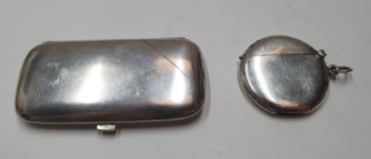 Early 20thC silver cigarette case & silver matchbox case, total combined weight 76 grams