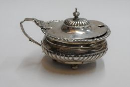 Edwardian silver mustard pot with blue liner, London 1909