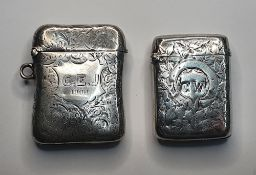 2 late Victorian engraved silver vesta cases (2), one Chester 1899, the other Birmingham 1895,