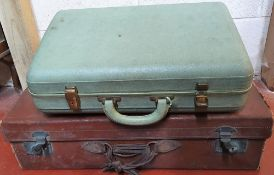classic Edwardian brown leather suitcase & a a mid 20thC Viceroy ladies suitcase (2)