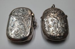 2 - Antique hallmarked silver vesta cases, Total combined weight approx 46 grams