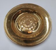Hallmarked silver gilt, 1963 circular dish embossed with an English rose by Hickleton & Phillips