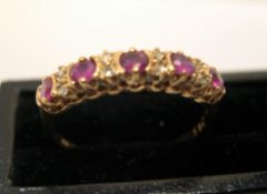 9ct yellow gold, half eternity ring with diamond & ruby ring Approx 1.5 grams gross size N