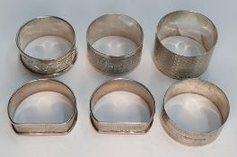 collection of 6 Birmingham silver napkin rings, all dated between 1913-1946 (6), 100 grams in total