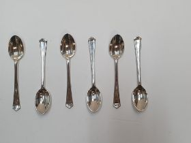 Antique set of 6 silver sugar spoons in classical stylish form, 75 grams