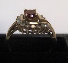 9ct yellow gold, garnet & diamond ring Approx 2.5 grams gross, size N/O