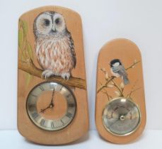 Wall clock & a barometer, both with hand painted birds by Ivor Rawlinson (2)