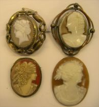 3 large Victorian Cameo brooches & 1 large unframed antique Cameo