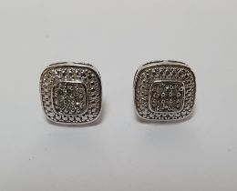 Pair of modern 9ct white gold & diamond square clustered earrings