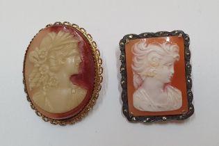 2 largish antique cameo brooches