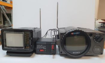 A vintage Sony TVS II VK TV transmitter with a Samsung CL-125R Portable TV together with a