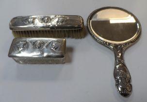 Birmingham 1906 silver backed 3-piece vanity set comprising mirror, brush & trinket box, each