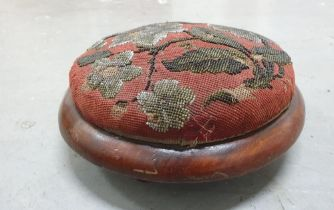 Hand embroidered Victorian circular kneeling stool (a/f)