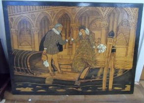 Large, early 20thC pokerwork panel depicting medieval figures getting into a gondola, signed T