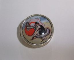 Vintage circular silver pill box with enamel topped lid of Edwardian lady on the beech
