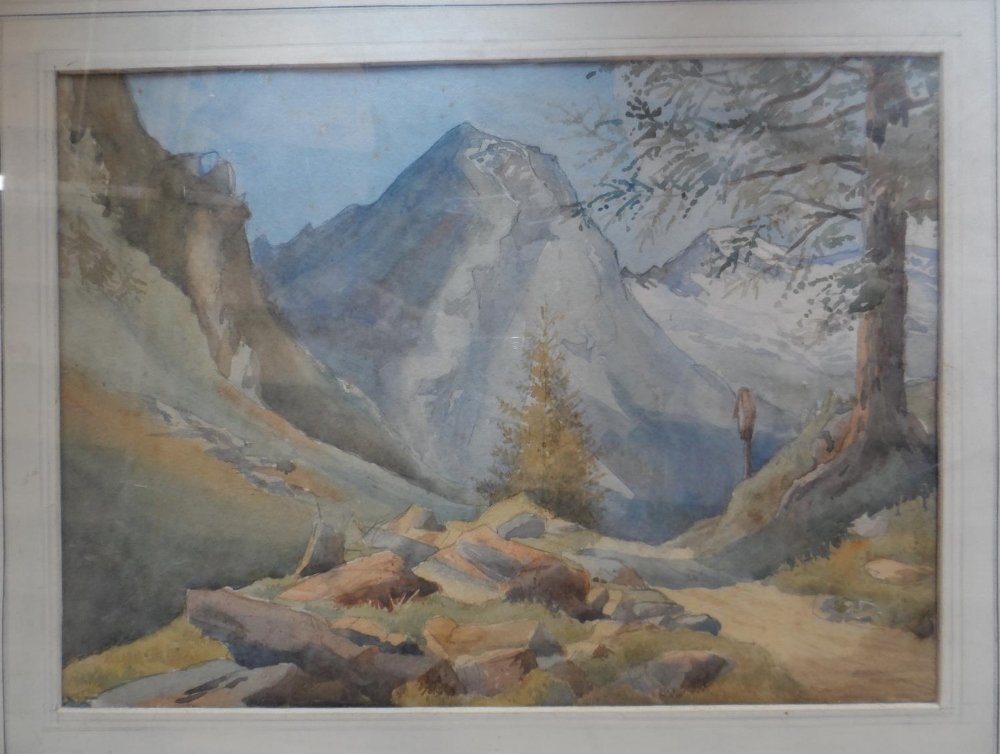 Six Alpine scene watercolours and drawing, all by differing artists, all framed (6) - Image 4 of 6