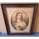 Catholic Society of Ireland, 1872 engraving on paper laid onto canvas, of Christ in antique molded