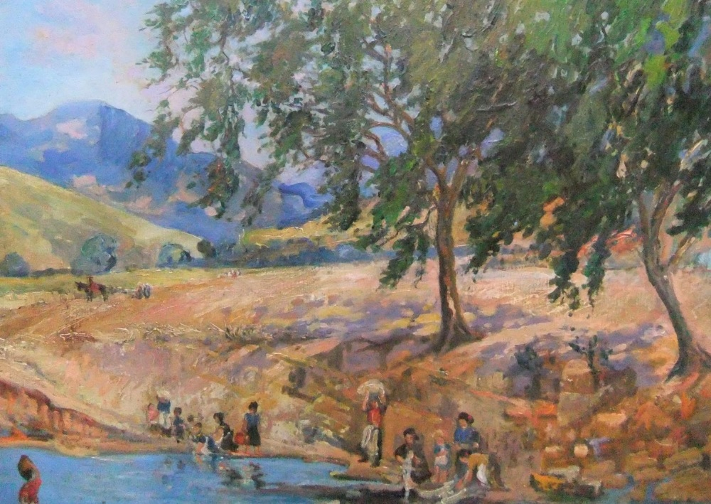 "Harry John Pearson (1872-1933) oil on canvas, ""Continental river scene"", unframed 64 x 77cm - Image 2 of 4"