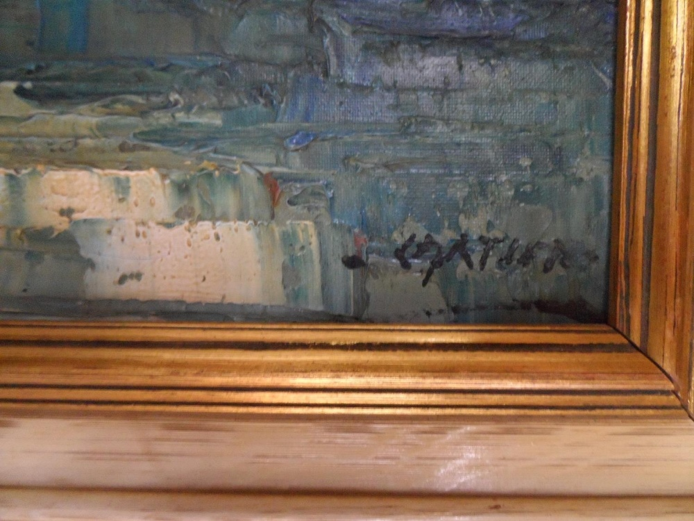 """Large impressionist, 1960s/70s oil on canvas, """"Boats of Mediterranean coast"""" signed CARTIER, framed, - Image 4 of 5"""