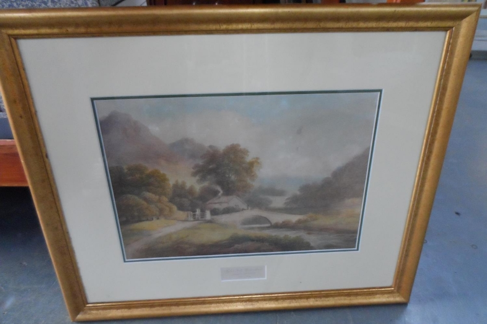 """Francis NICHOLSON (1753-1844) 1803 watercolour """"View of Rydal Hall from across the water"""", signed - Image 2 of 7"""
