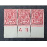 KG V 1911 carmine red, MINT strip of 1d with A11 to edge (3)