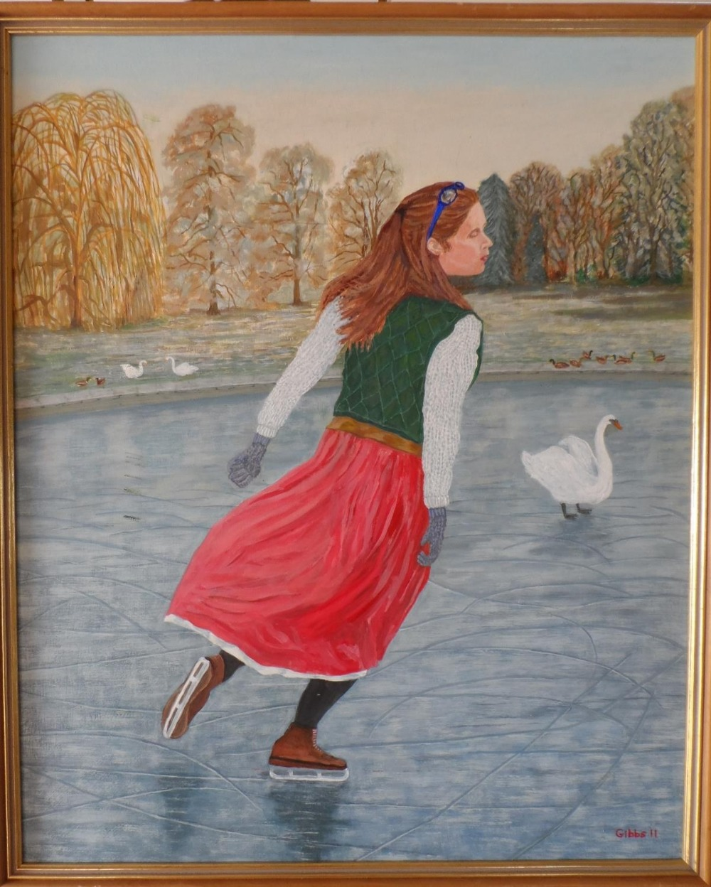 """Gerry Gibbs 2011 oil on board, """"The lone skater"""", wood framed, signed and dated, The oil measures 58 - Image 2 of 5"""