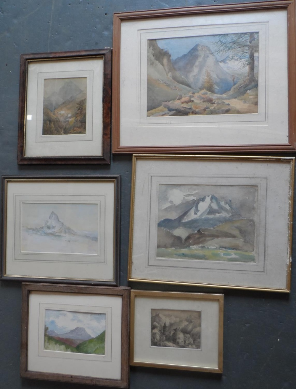 Six Alpine scene watercolours and drawing, all by differing artists, all framed (6)