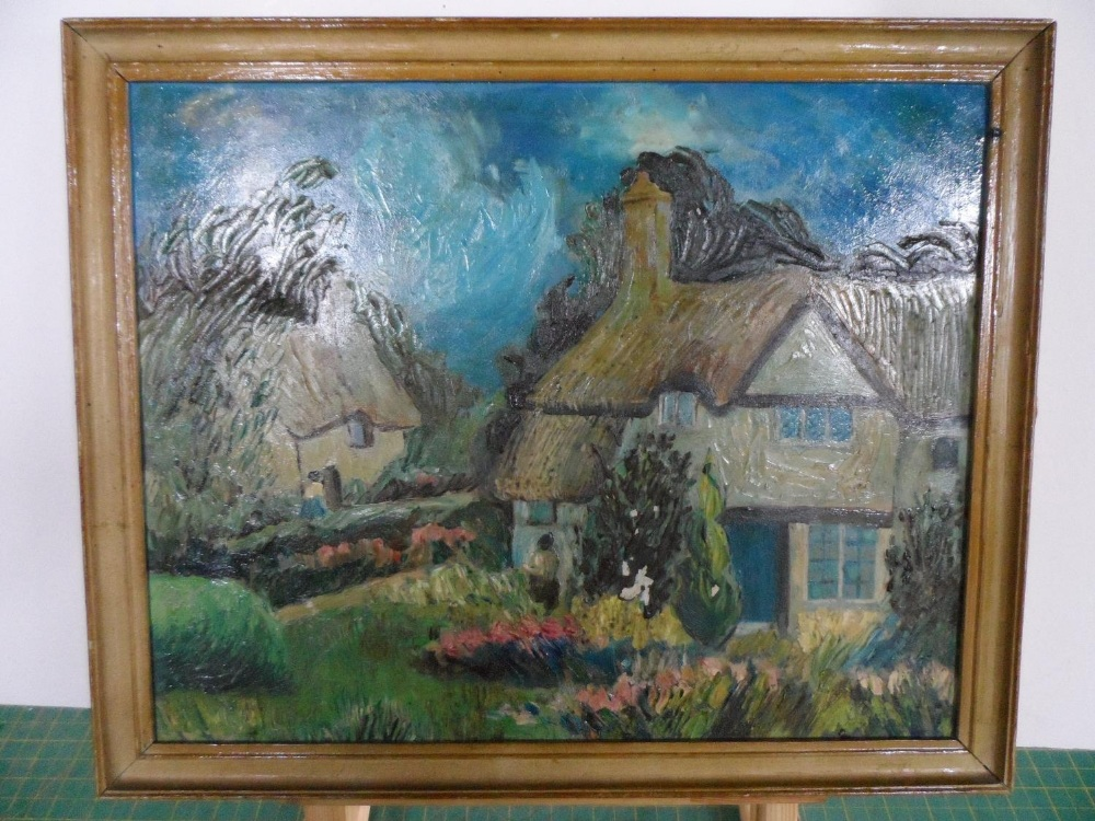 """Unsigned, mid 20thC modernist oil on canvas, """"Thatched cottages"""", framed, The oil measures 29 x 37 - Image 2 of 3"""