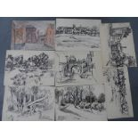 Noel R. BRANNAN (1921-2001), collection of 8 watercolours & pen drawings, all unframed, Approx