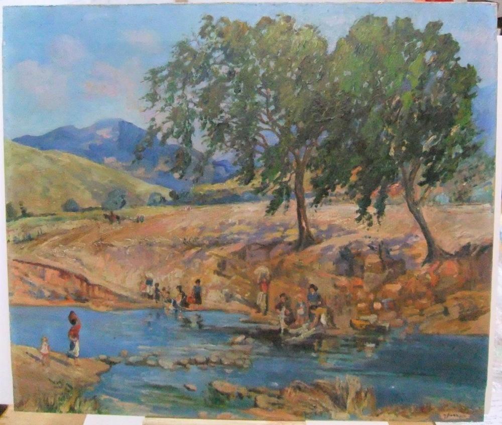 "Harry John Pearson (1872-1933) oil on canvas, ""Continental river scene"", unframed 64 x 77cm"