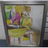 Large, mid/late 20thC, modernist oil on card sketch of a lady seated at a table, unsigned, framed