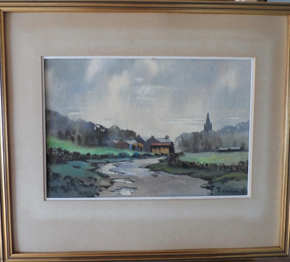 """R J W Prior, mid 20thC watercolour """"The road to the village"""", signed, framed, The w/c measures 17 - Image 2 of 4"""