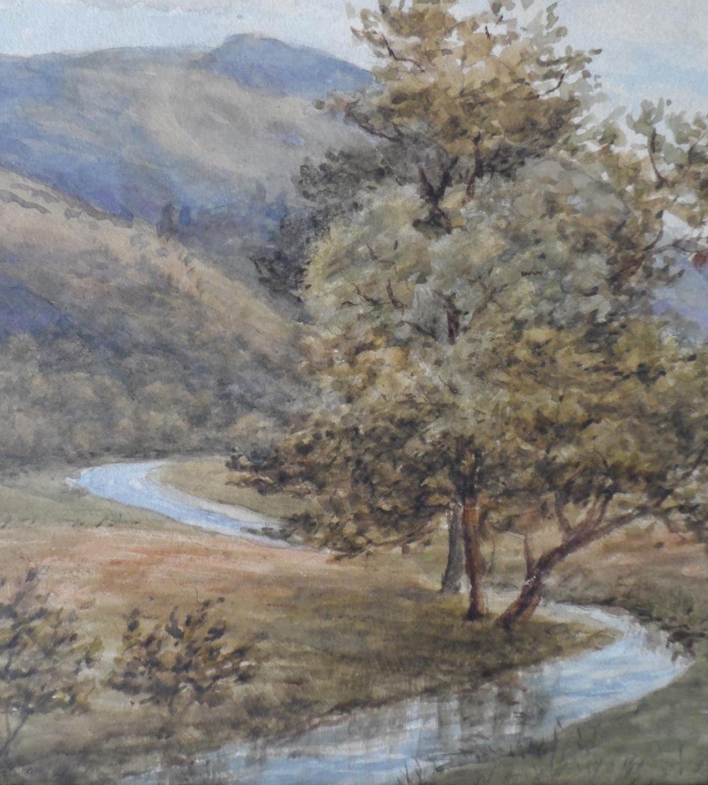"Attributed to Josiah Clinton JONES (1848-1936) watercolour ""Country river scene"", label verso, - Image 4 of 6"