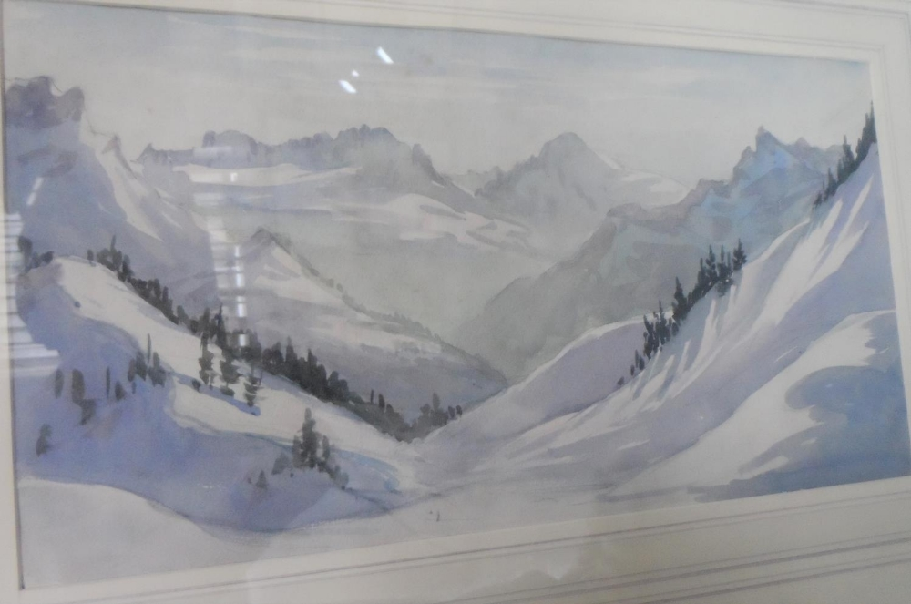 Three, well framed, mid 20thC watercolours all depicting mountains or rock formations, all by - Image 2 of 4