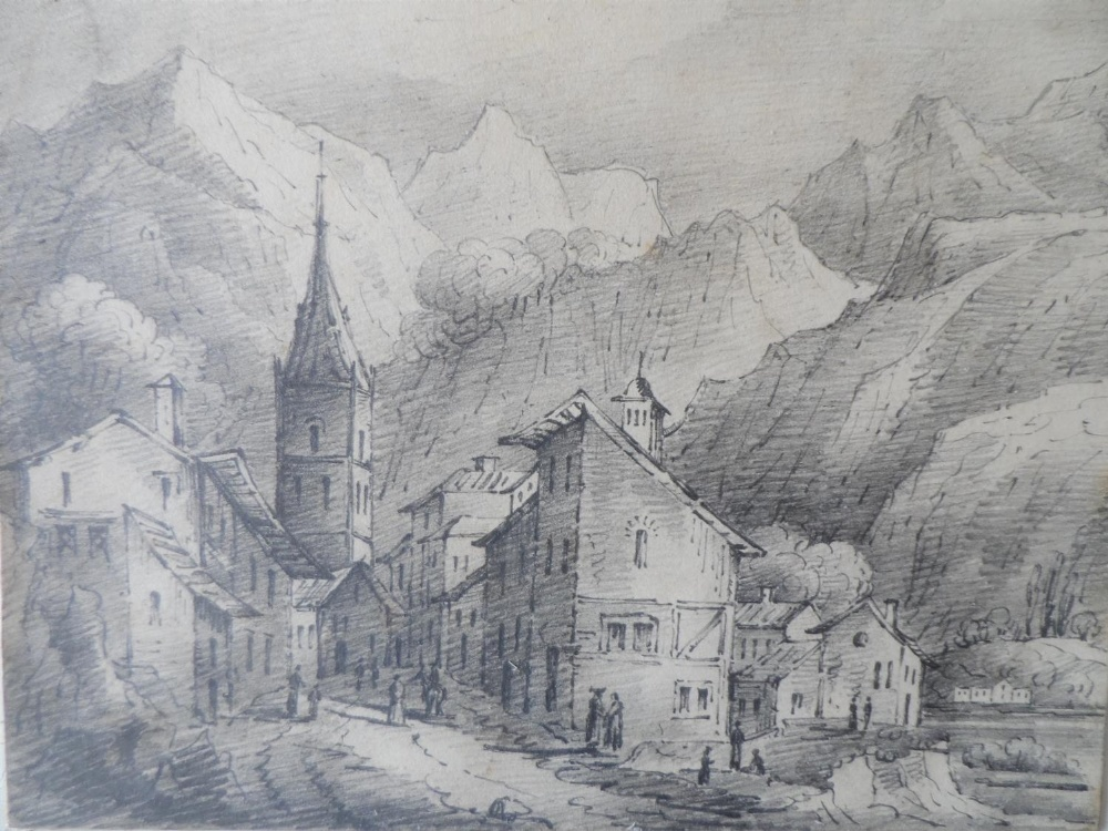 Six Alpine scene watercolours and drawing, all by differing artists, all framed (6) - Image 6 of 6