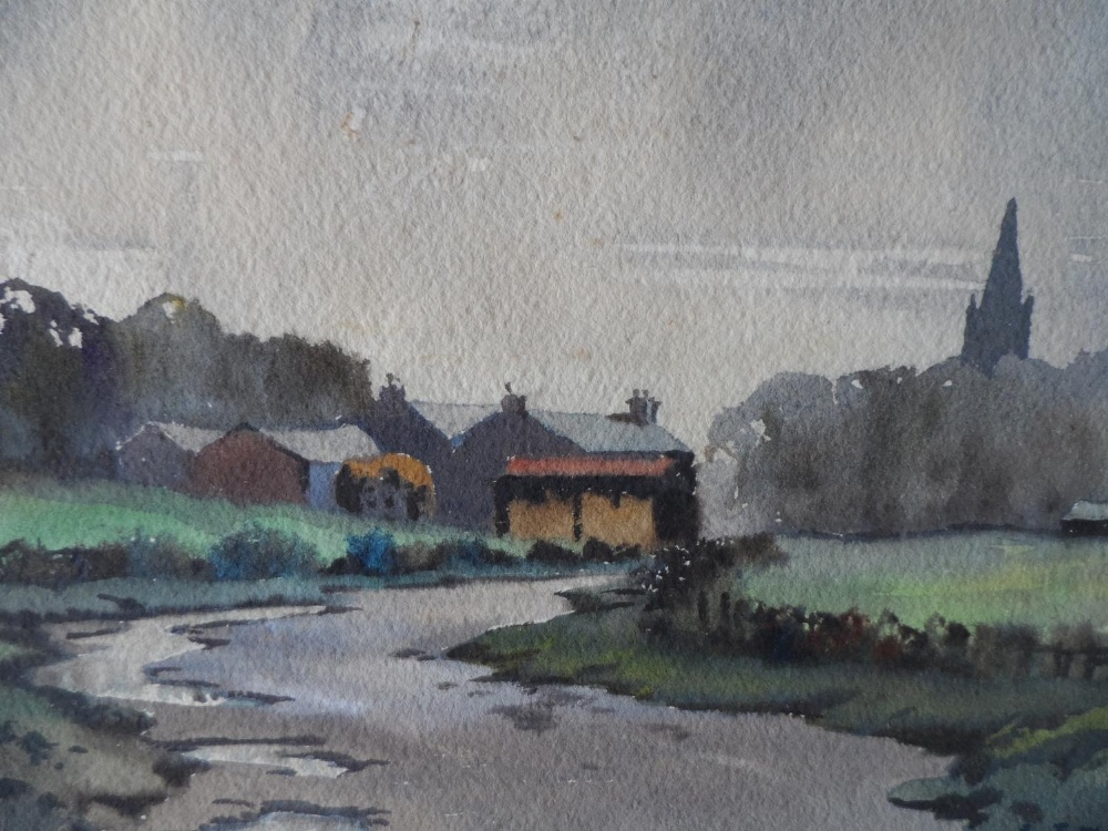 """R J W Prior, mid 20thC watercolour """"The road to the village"""", signed, framed, The w/c measures 17 - Image 3 of 4"""