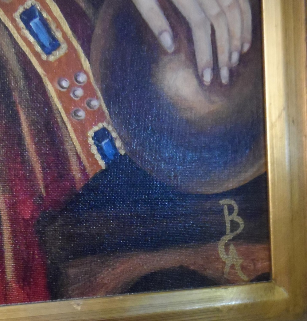 Large modern oil on board, portrait of Queen Elizabeth I in full pearl regalia, indistinctly - Image 6 of 6