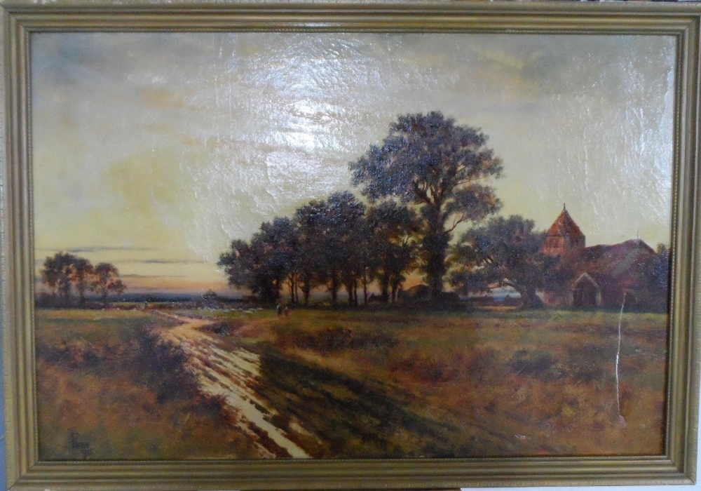"""Large Joel OWEN (act.1891-1931) oil """"Extensive country landscape"""", signed, wood framed, The oil"""