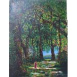 "Gerry Gibbs oil on canvas, ""A walk in the woods"", unframed, 61 x 45 cm"