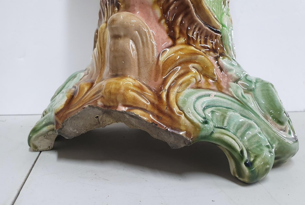 Stunning unmarked Victorian 2-part ceramic jardinière (a/f), 77 cm tall, Condition - 1 main area - Image 4 of 4