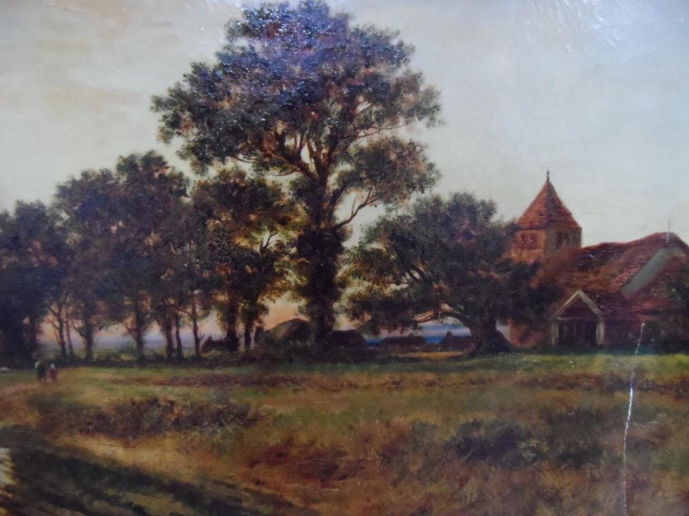 """Large Joel OWEN (act.1891-1931) oil """"Extensive country landscape"""", signed, wood framed, The oil - Image 5 of 6"""