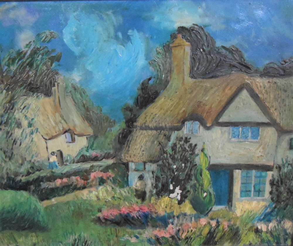 """Unsigned, mid 20thC modernist oil on canvas, """"Thatched cottages"""", framed, The oil measures 29 x 37"""