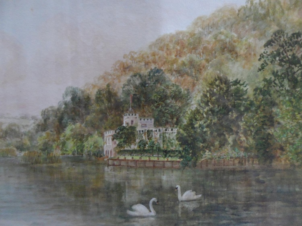 """Walter DUNCAN (1848-1932) watercolour """"Swans on tranquil river"""", signed, gilt framed The w/c - Image 2 of 6"""