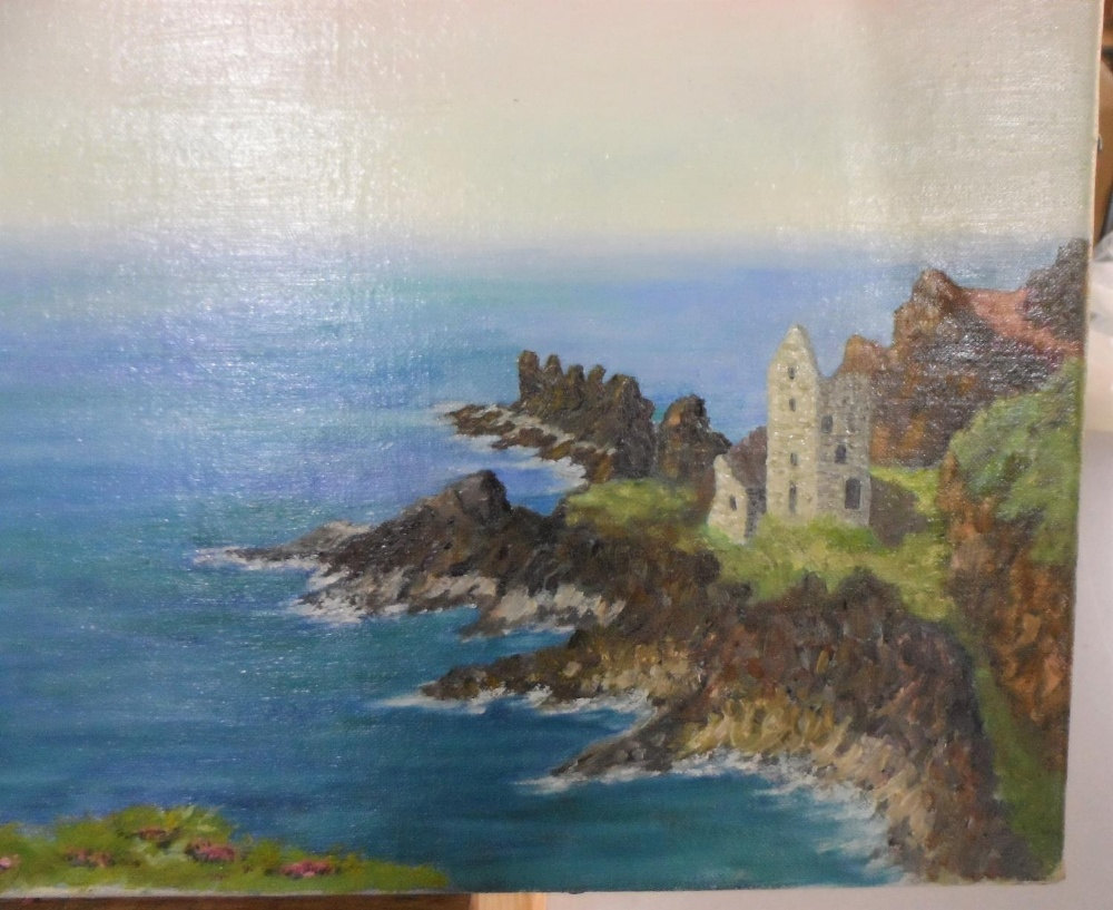 """Gerry B Gibbs 1970 post-impressionist oil on canvas, """"Tranquil coastal scene"""", signed and dated, - Image 3 of 5"""