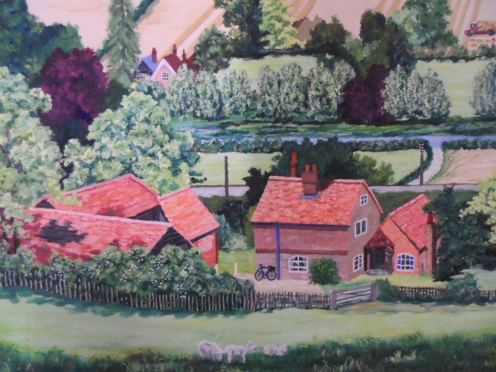 """Large, Gerry B Gibbs 1973 post-impressionist oil on canvas, """"Extensive countryside landscape"""", - Image 2 of 5"""