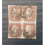 RARE - QV 1841 1d imperf block of 4 reds (D-B C-E), plate 18, with black Maltese Cross